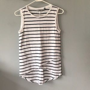 Athleta Linen Tank : Navy & White Stripe